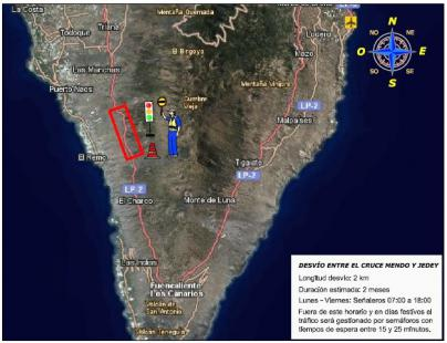 Las obras de la LP-2 en La Palma obligan a restringir el tráfico en el cruce de Mendo a partir del este martes