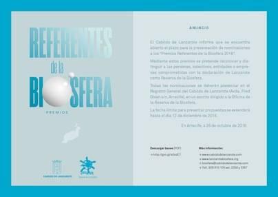 Lanzarote abre el plazo de candidaturas a los Premios 'Referentes de la Biosfera 2016'