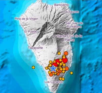 Registrados más 60 sismos en La Palma desde las 00.00 horas, varios de magnitud 3.9 en Mazo