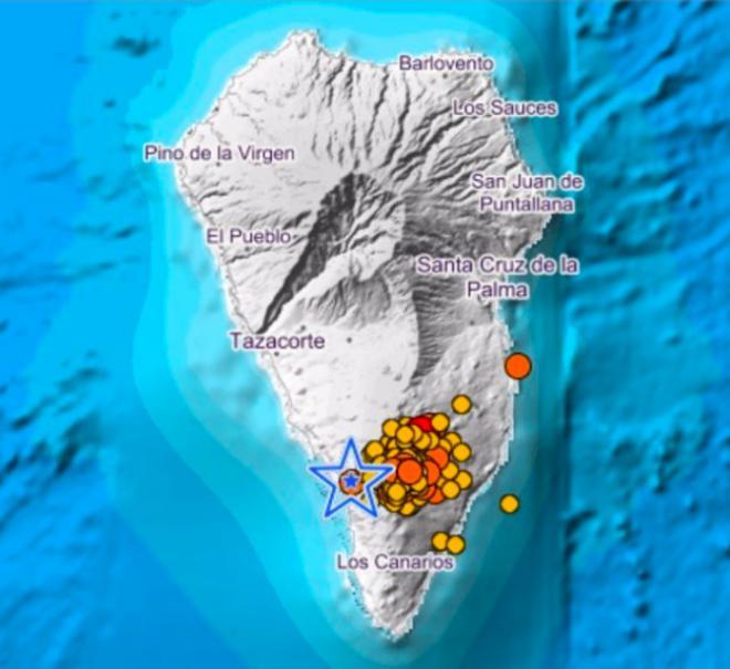 Registrados casi 40 sismos en La Palma desde las 00.00 horas, varios de magnitud 3,9